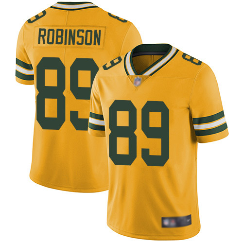 Men's Dave Robinson Gold Elite Football Jersey: Green Bay Packers #89 Rush Vapor Untouchable  Jersey