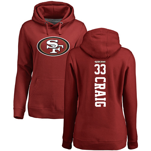 Women's Roger Craig Red Backer Football : San Francisco 49ers #33 Pullover Hoodie