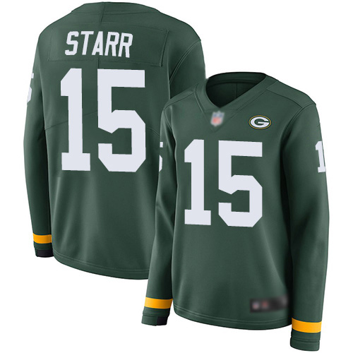 Women's Bart Starr Green Limited Football Jersey: Green Bay Packers #15 Therma Long Sleeve  Jersey