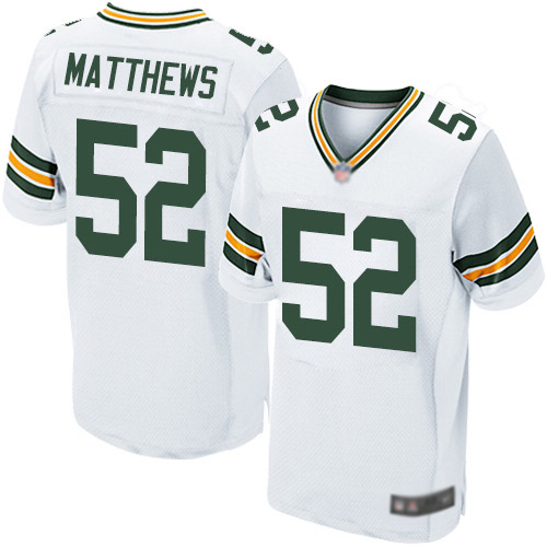 Men's Clay Matthews White Road Elite Football Jersey: Green Bay Packers #52  Jersey