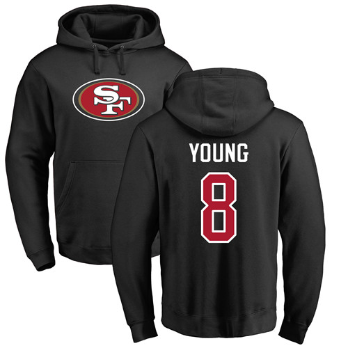 Steve Young Black Name & Number Logo Football : San Francisco 49ers #8 Pullover Hoodie