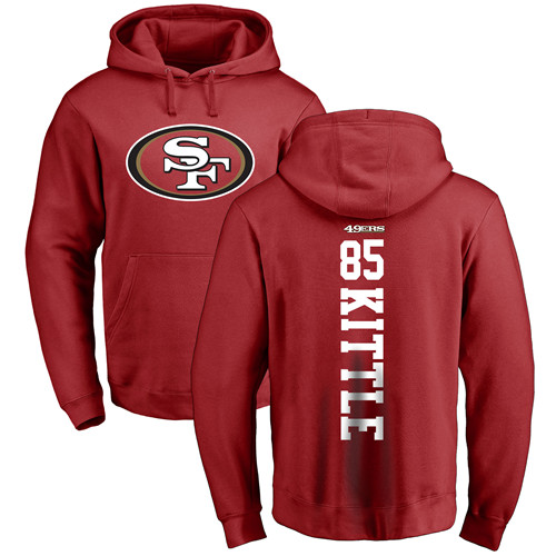 George Kittle Red Backer Football : San Francisco 49ers #85 Pullover Hoodie