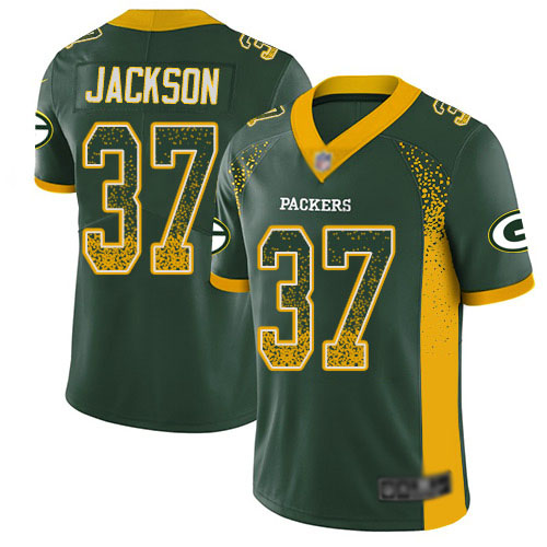 Men's Josh Jackson Green Limited Football Jersey: Green Bay Packers #37 Rush Drift Fashion  Jersey