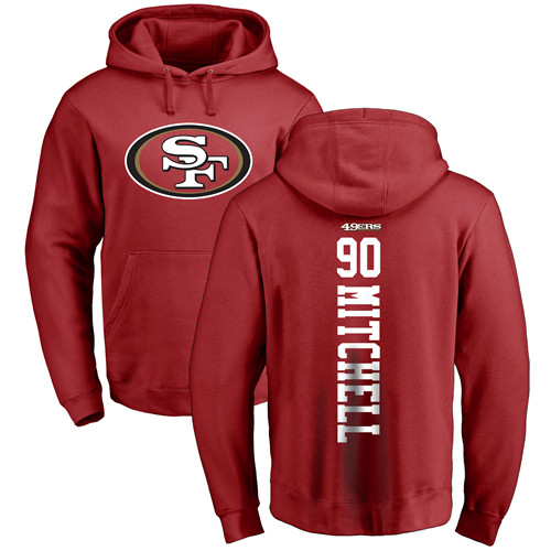 Earl Mitchell Red Backer Football : San Francisco 49ers #90 Pullover Hoodie