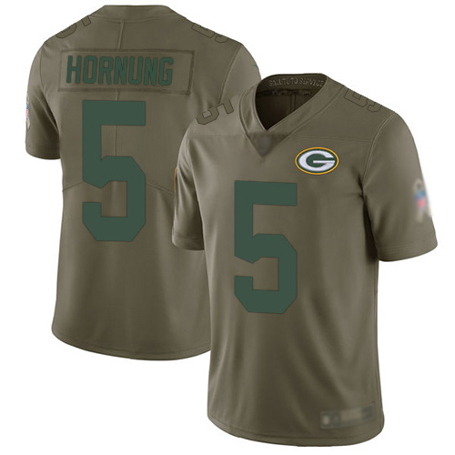 Men's Paul Hornung Olive Limited Football Jersey: Green Bay Packers #5 2017 Salute to Service  Jersey
