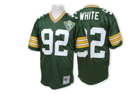 Men's Reggie White Green Home Authentic Football Jersey: Green Bay Packers #92 Throwback Mitchell and Ness Jersey