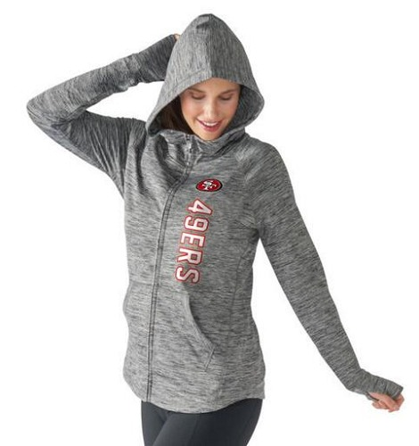Football San Francisco 49ers G-III 4Her by Carl Banks Women's Recovery Full-Zip Hoodie - Heathered Gray