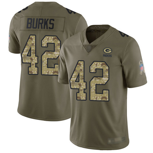 Men's Oren Burks Olive/Camo Limited Football Jersey: Green Bay Packers #42 2017 Salute to Service  Jersey