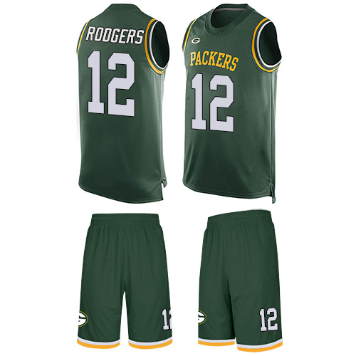 Men's Aaron Rodgers Green Limited Football Jersey: Green Bay Packers #12 Tank Top Suit  Jersey