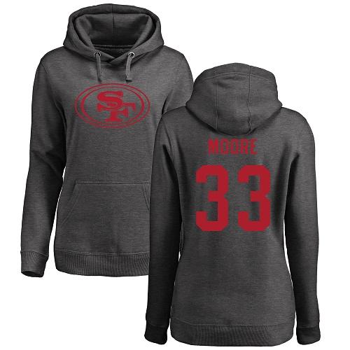 Women's Tarvarius Moore Ash One Color Football : San Francisco 49ers #33 Pullover Hoodie