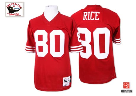 Men's Jerry Rice Red Home Authentic Football Jersey: San Francisco 49ers #80 Throwback Mitchell and Ness Jersey