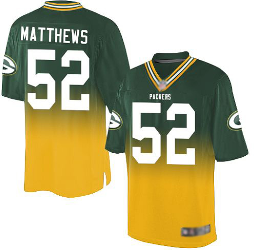 Men's Clay Matthews Green/Gold Elite Football Jersey: Green Bay Packers #52 Fadeaway  Jersey