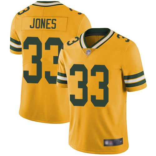 Men's Aaron Jones Gold Elite Football Jersey: Green Bay Packers #33 Rush Vapor Untouchable  Jersey