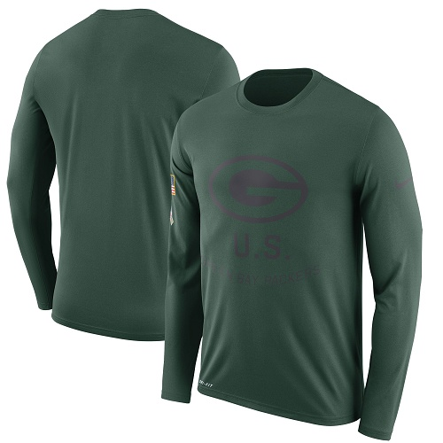 Football Men's  Green Bay Packers Green Salute to Service Sideline Legend Performance Long Sleeve T-Shirt