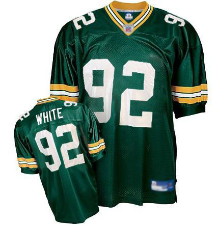 Men's Reggie White Green Home Authentic Football Jersey: Green Bay Packers #92 Throwback  Jersey