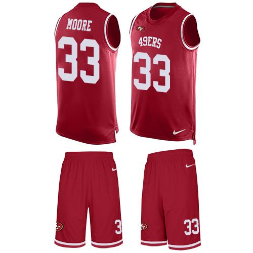 Men's Tarvarius Moore Red Limited Football Jersey: San Francisco 49ers #33 Tank Top Suit  Jersey