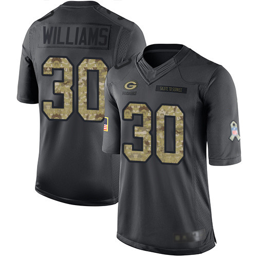 Men's Jamaal Williams Black Limited Football Jersey: Green Bay Packers #30 2016 Salute to Service  Jersey