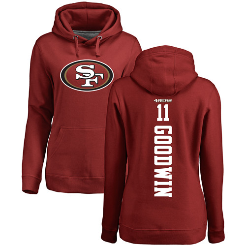 Women's Marquise Goodwin Red Backer Football : San Francisco 49ers #11 Pullover Hoodie