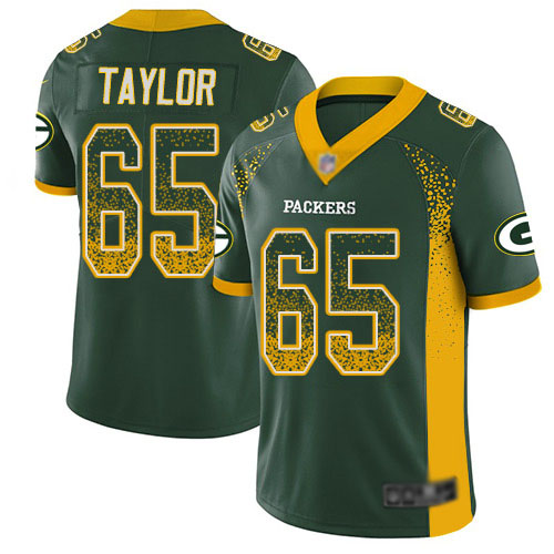 Men's Lane Taylor Green Limited Football Jersey: Green Bay Packers #65 Rush Drift Fashion  Jersey