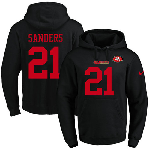 Football Men's  San Francisco 49ers #21 Deion Sanders Black Name & Number Pullover Hoodie
