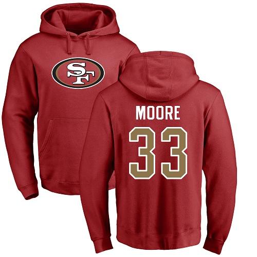 Tarvarius Moore Red Name & Number Logo Football : San Francisco 49ers #33 Pullover Hoodie