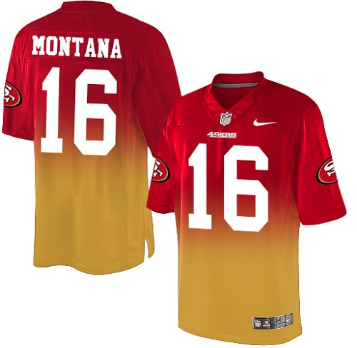 Youth Joe Montana Red/Gold Elite Football Jersey: San Francisco 49ers #16 Fadeaway  Jersey