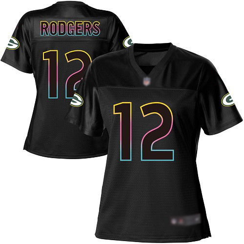 Women's Aaron Rodgers Black Game Football Jersey: Green Bay Packers #12 Fashion  Jersey