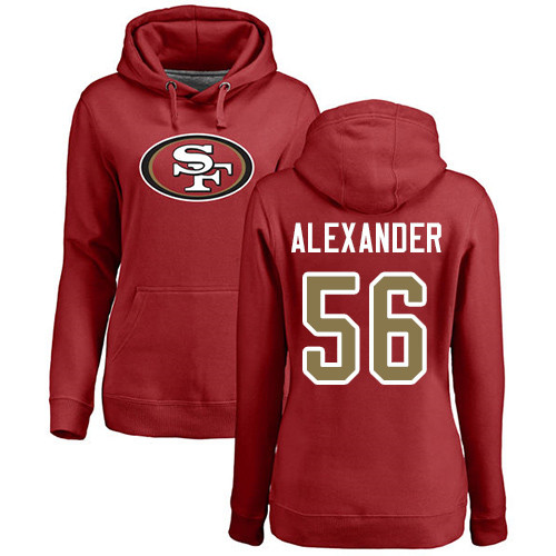 Women's Kwon Alexander Red Name & Number Logo Football : San Francisco 49ers #56 Pullover Hoodie