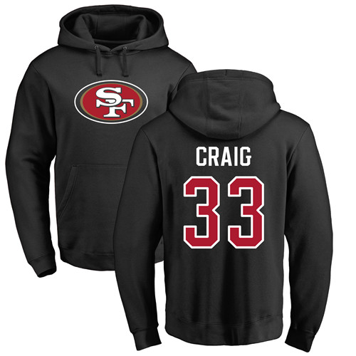 Roger Craig Black Name & Number Logo Football : San Francisco 49ers #33 Pullover Hoodie