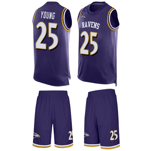 Men's Tavon Young Purple Limited Football Jersey: Baltimore Ravens #25 Tank Top Suit  Jersey