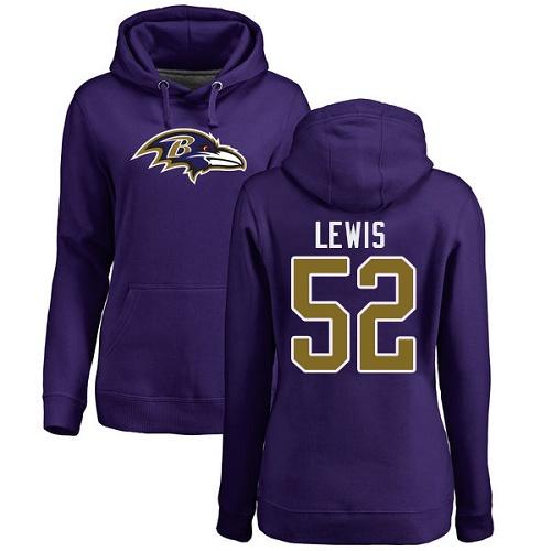 Women's Ray Lewis Purple Name & Number Logo Football : Baltimore Ravens #52 Pullover Hoodie