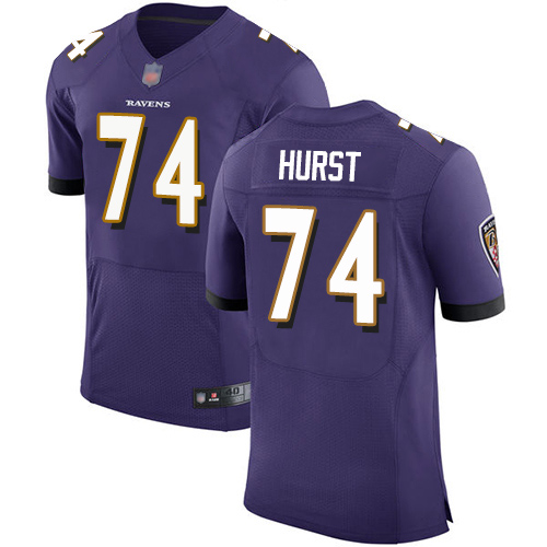 Men's James Hurst Purple Home Elite Football Jersey: Baltimore Ravens #74  Jersey