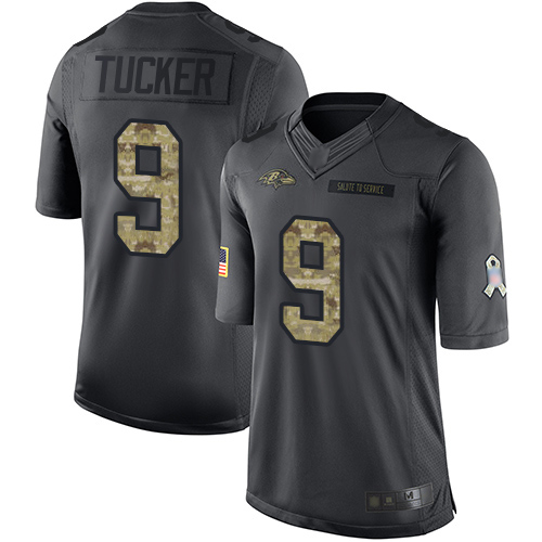 Men's Justin Tucker Black Limited Football Jersey: Baltimore Ravens #9 2016 Salute to Service  Jersey