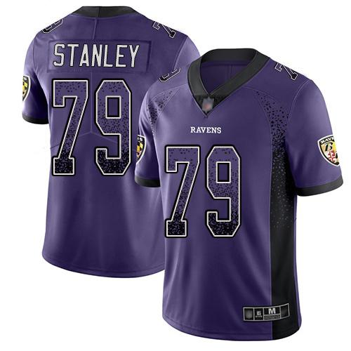 Men's Ronnie Stanley Purple Limited Football Jersey: Baltimore Ravens #79 Rush Drift Fashion  Jersey