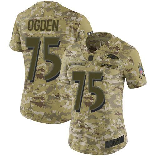 Women's Jonathan Ogden Camo Limited Football Jersey: Baltimore Ravens #75 2018 Salute to Service  Jersey