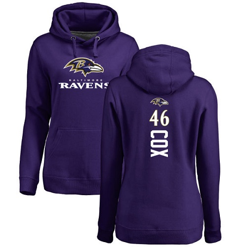 Women's Morgan Cox Purple Backer Football : Baltimore Ravens #46 Pullover Hoodie