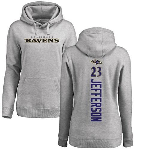 Women's Tony Jefferson Ash Backer Football : Baltimore Ravens #23 Pullover Hoodie