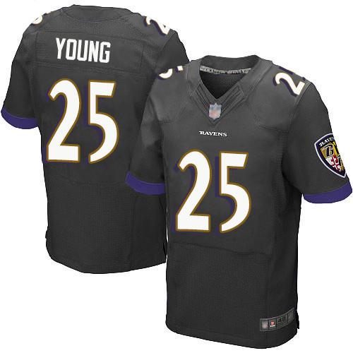 Men's Tavon Young Black Alternate Elite Football Jersey: Baltimore Ravens #25  Jersey