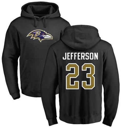 Tony Jefferson Black Name & Number Logo Football : Baltimore Ravens #23 Pullover Hoodie