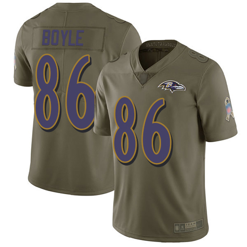 Youth Nick Boyle Olive Limited Football Jersey: Baltimore Ravens #86 2017 Salute to Service  Jersey