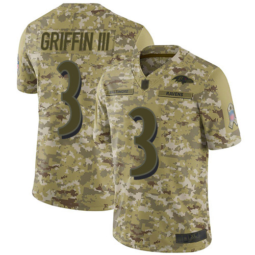 Youth Robert Griffin III Camo Limited Football Jersey: Baltimore Ravens #3 2018 Salute to Service  Jersey