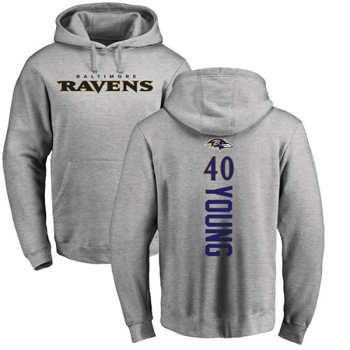 Kenny Young Ash Backer Football : Baltimore Ravens #40 Pullover Hoodie