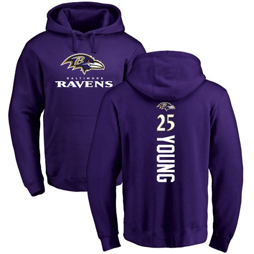 Tavon Young Purple Backer Football : Baltimore Ravens #25 Pullover Hoodie