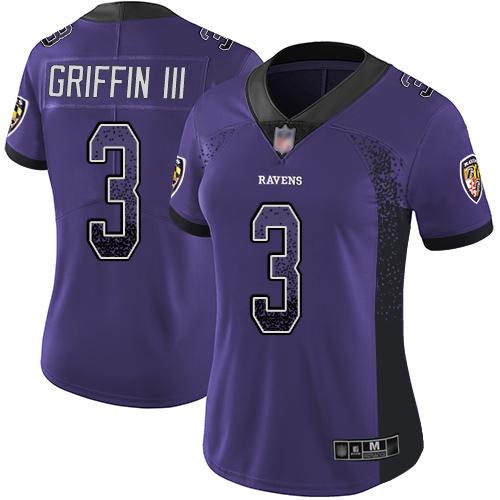 Women's Robert Griffin III Purple Limited Football Jersey: Baltimore Ravens #3 Rush Drift Fashion  Jersey