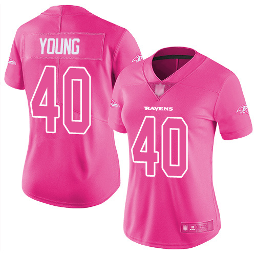 Women's Kenny Young Pink Limited Football Jersey: Baltimore Ravens #40 Rush Fashion  Jersey