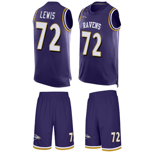 Men's Alex Lewis Purple Limited Football Jersey: Baltimore Ravens #72 Tank Top Suit  Jersey
