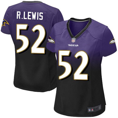 Women's Ray Lewis Purple/Black Elite Football Jersey: Baltimore Ravens #52 Fadeaway  Jersey