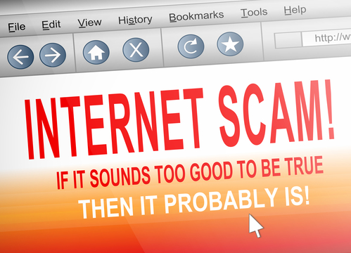 Illustration depicting computer screen shot of an internet browser with an internet scam concept.