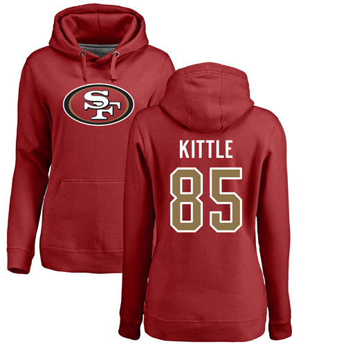 Women's George Kittle Red Name & Number Logo Football : San Francisco 49ers #85 Pullover Hoodie