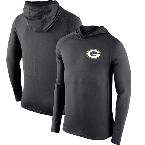 Football Men's Green Bay Packers  Charcoal Stadium Touch Hooded Performance Long Sleeve T-Shirt